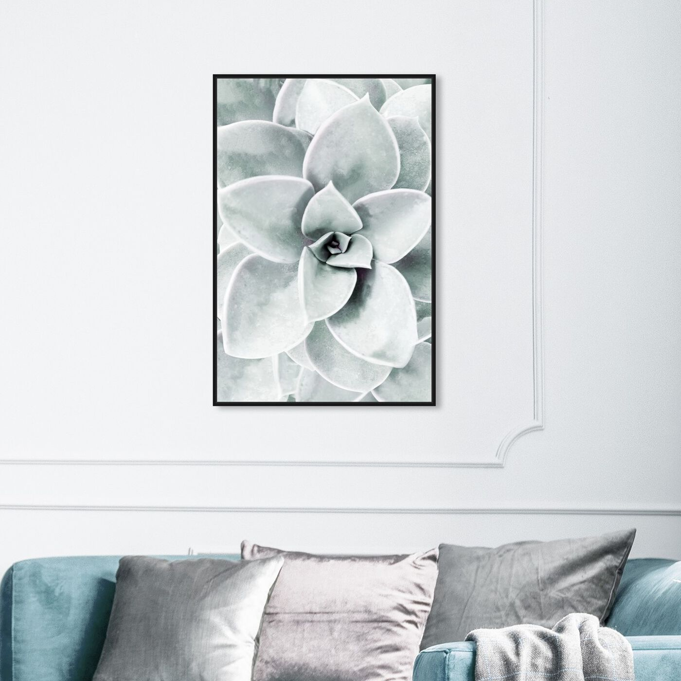 Hanging view of Succulent Zoom I featuring floral and botanical and botanicals art.