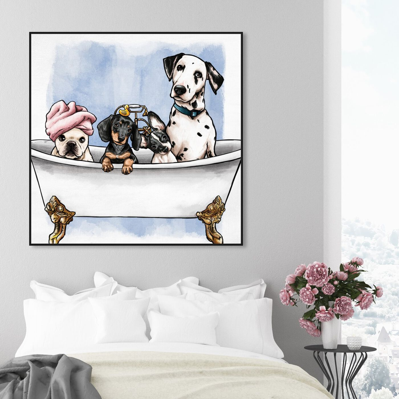 Hanging view of Pets In The Tub featuring bath and laundry and bathtubs art.