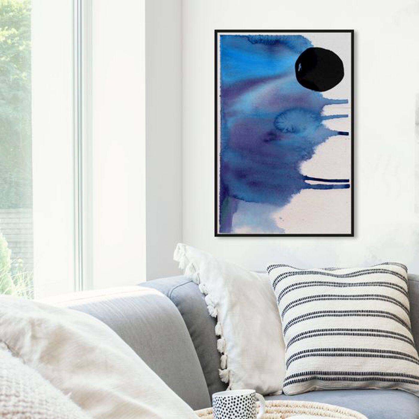 Hanging view of Hiver featuring abstract and watercolor art.