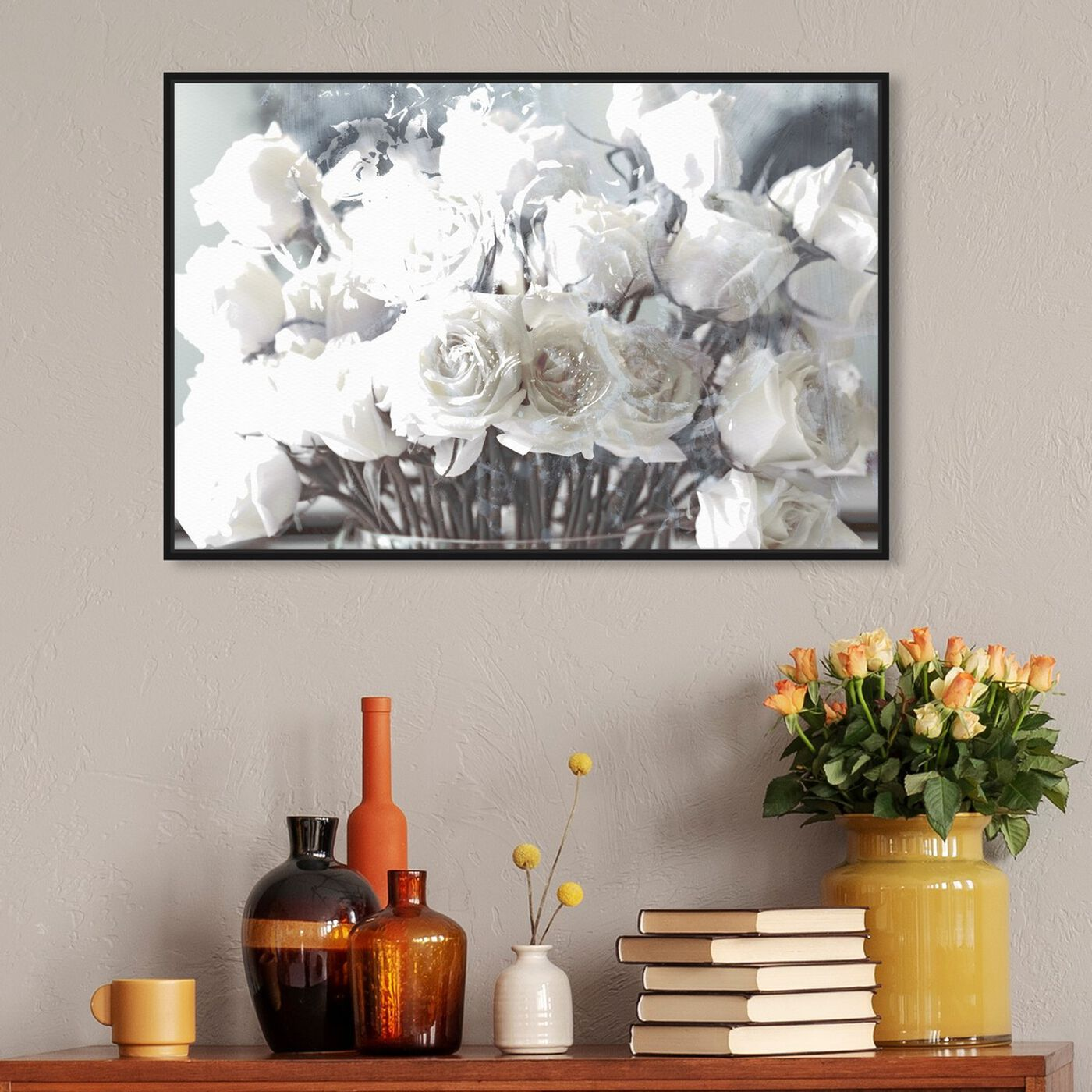 Hanging view of Rose Gold Feast Grey featuring floral and botanical and florals art.