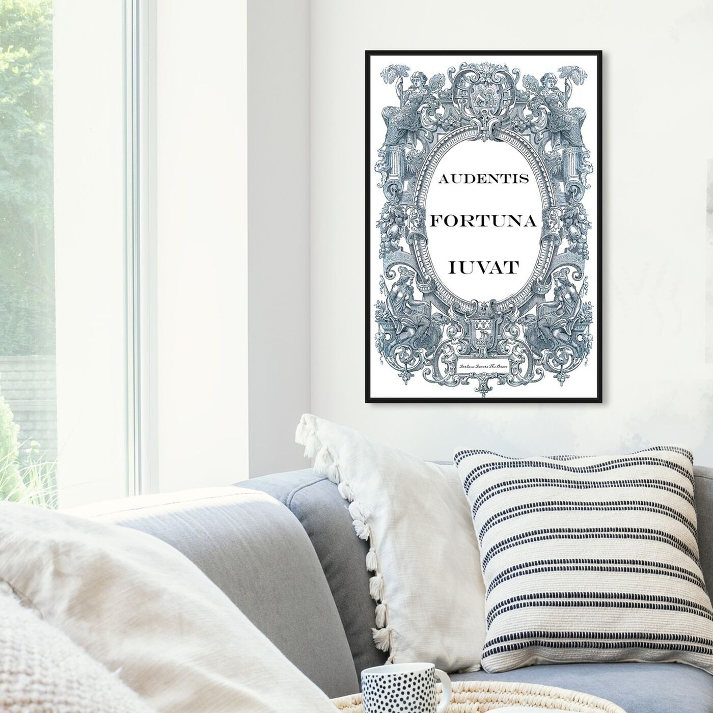 Hanging view of Fortune Favors the Brave featuring typography and quotes and motivational quotes and sayings art.