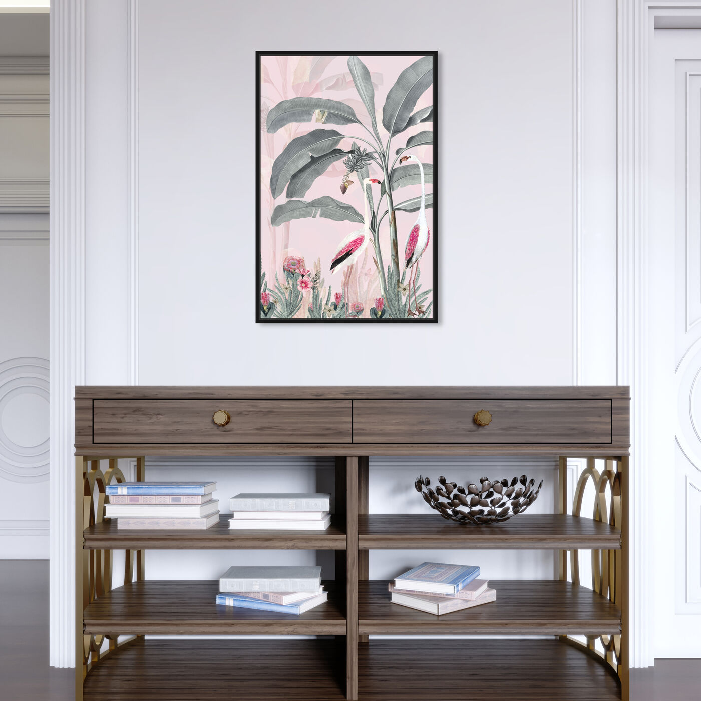 Hanging view of Flamingo Pink featuring animals and birds art.