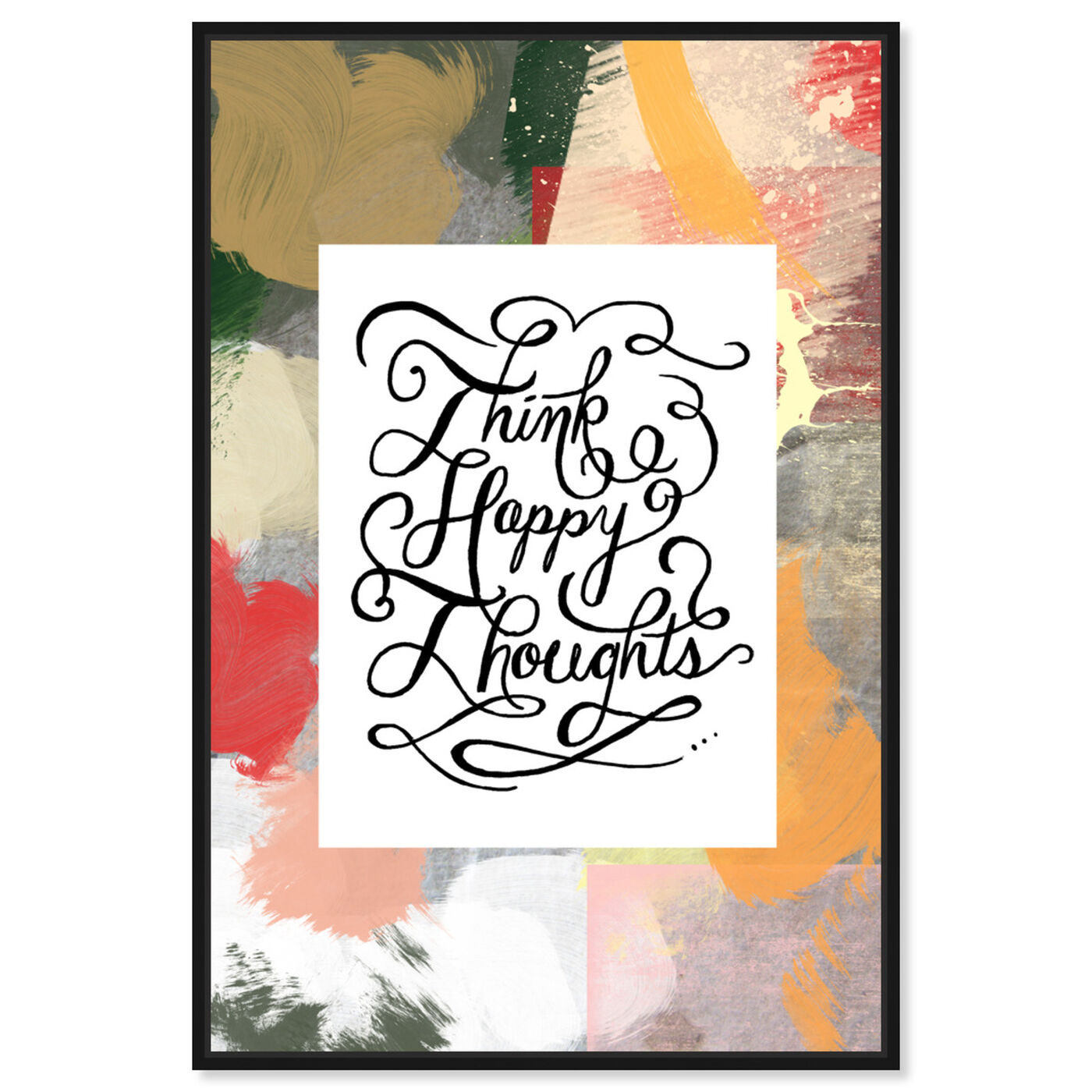 Front view of Happy Thoughts I featuring typography and quotes and inspirational quotes and sayings art.