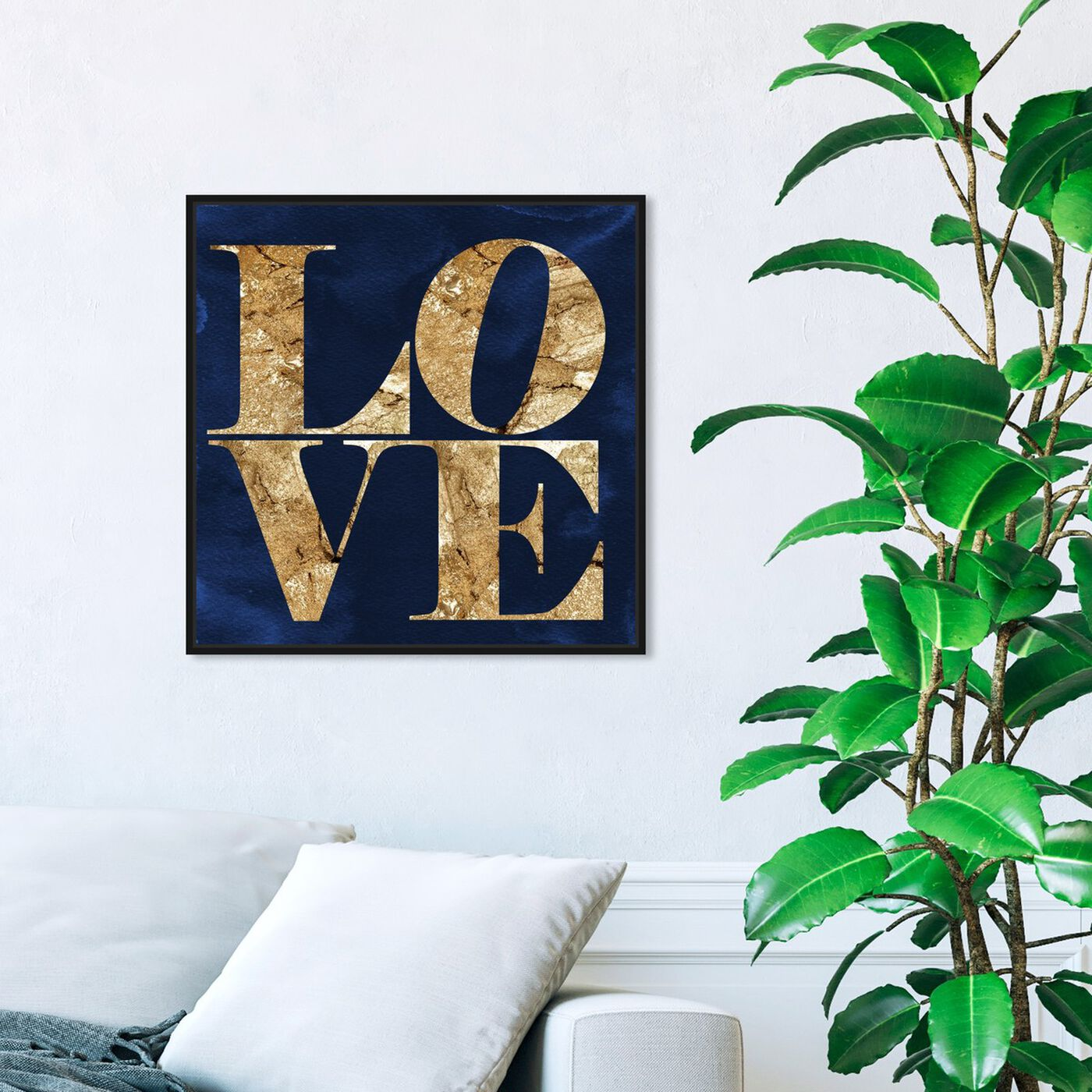 Hanging view of Solid Gold Navy featuring typography and quotes and love quotes and sayings art.