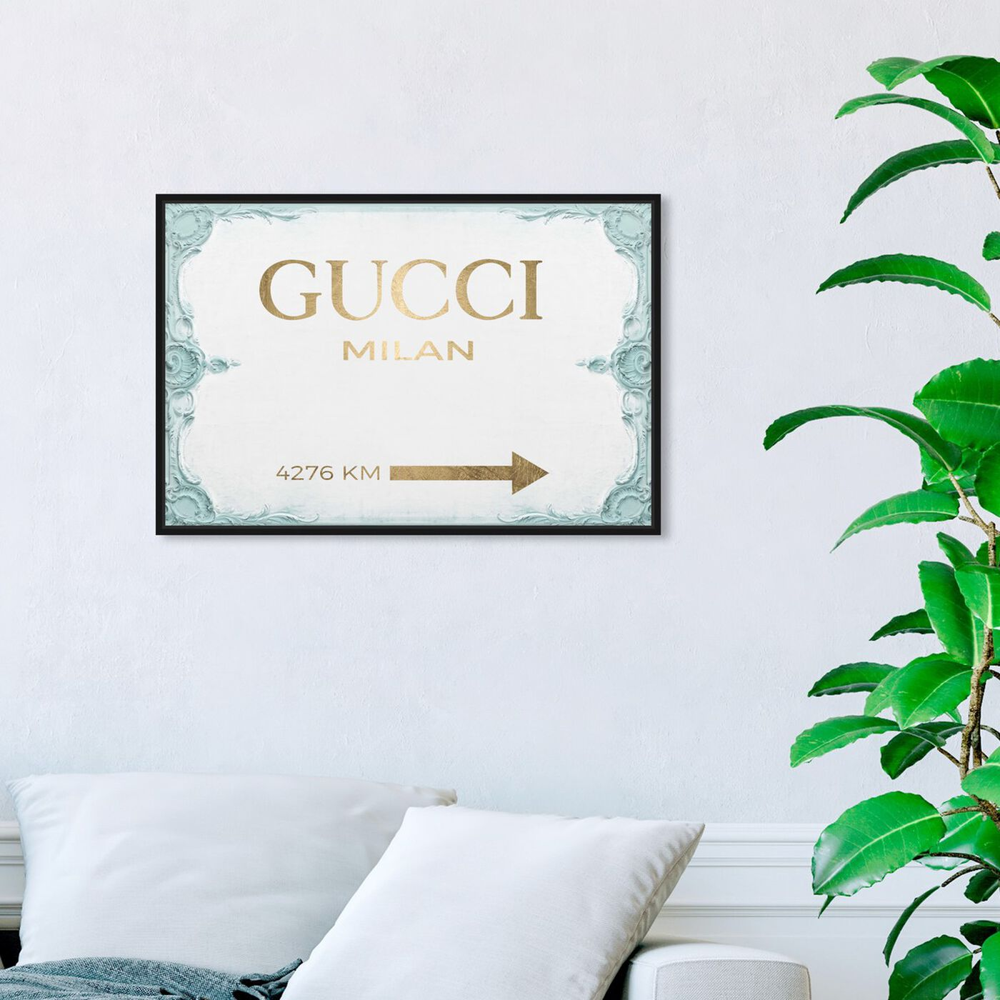 Hanging view of Milan Sign Aqua featuring fashion and glam and road signs art.