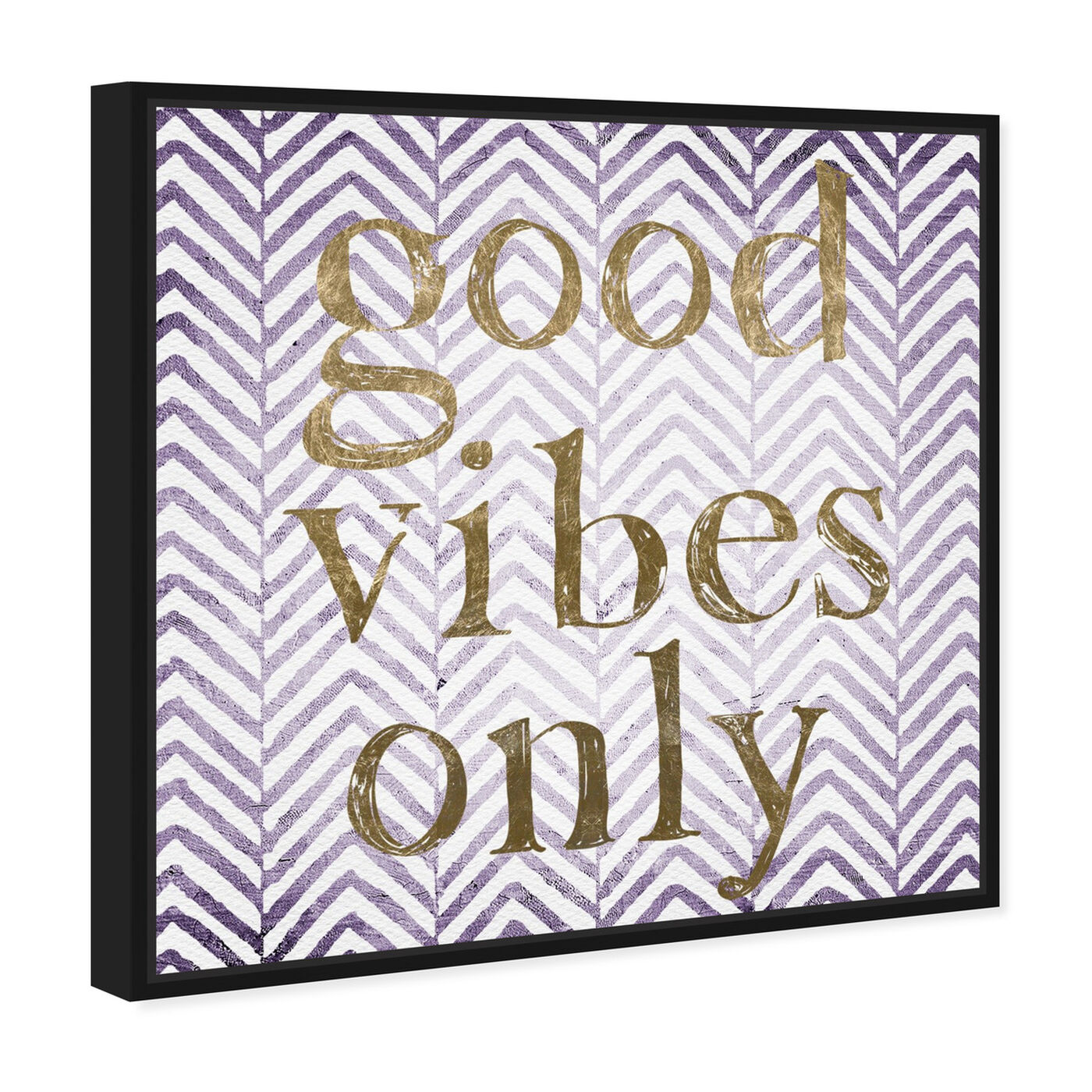 Angled view of Good Vibes Only - Tan featuring typography and quotes and inspirational quotes and sayings art.