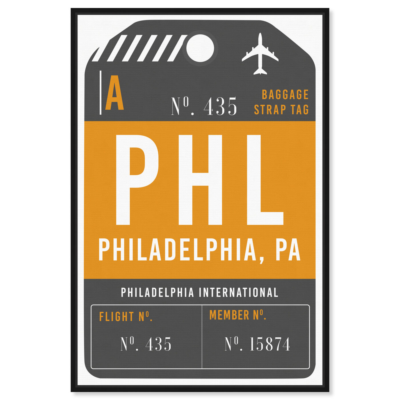 Front view of Philadelphia Luggage Tag featuring cities and skylines and united states cities art.