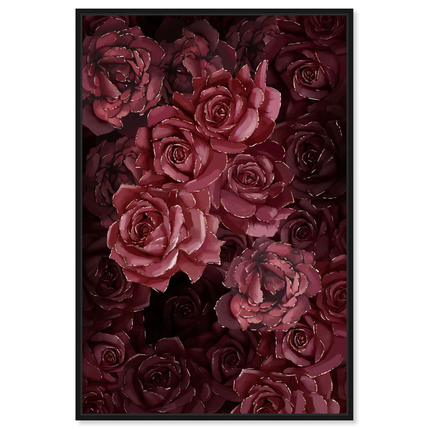 Front view of Cherry Red Flowers featuring floral and botanical and florals art.