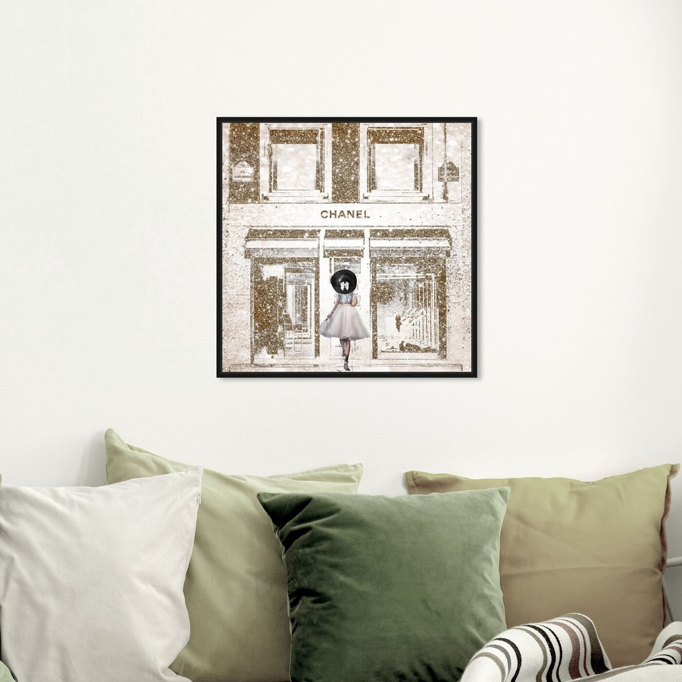 Hanging view of Queen of the Store Gold featuring fashion and glam and road signs art.
