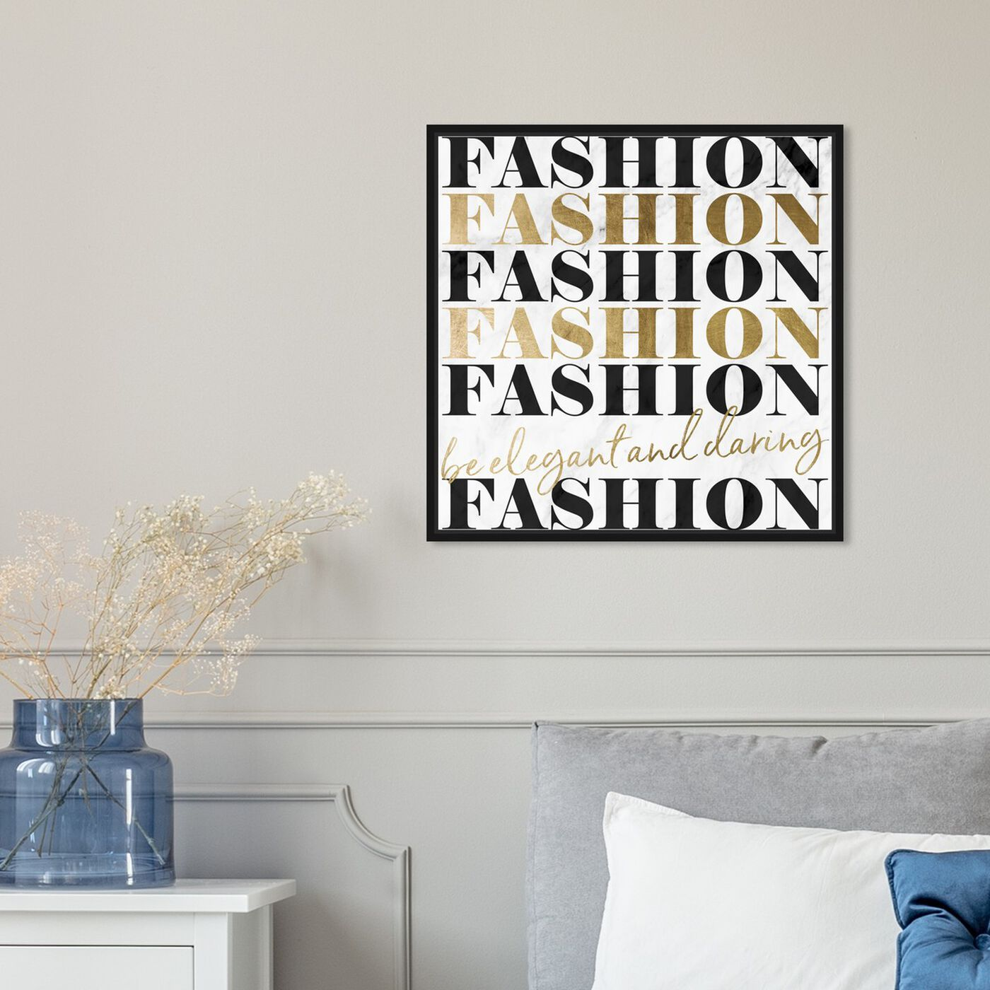 Hanging view of Be Elegant and Daring and Marble featuring typography and quotes and fashion quotes and sayings art.