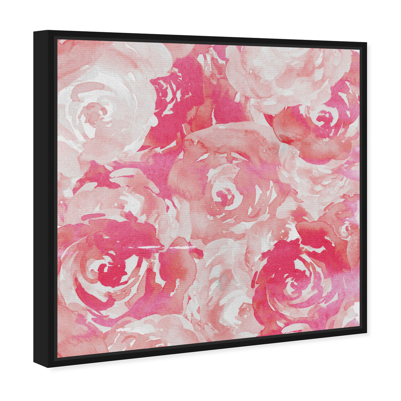 Angled view of Pink Roses featuring floral and botanical and florals art.