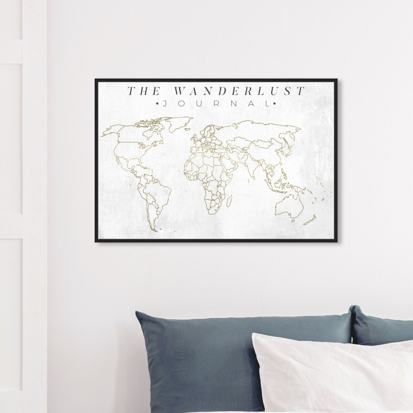 Hanging view of The Wanderlust Journal featuring maps and flags and world maps art.