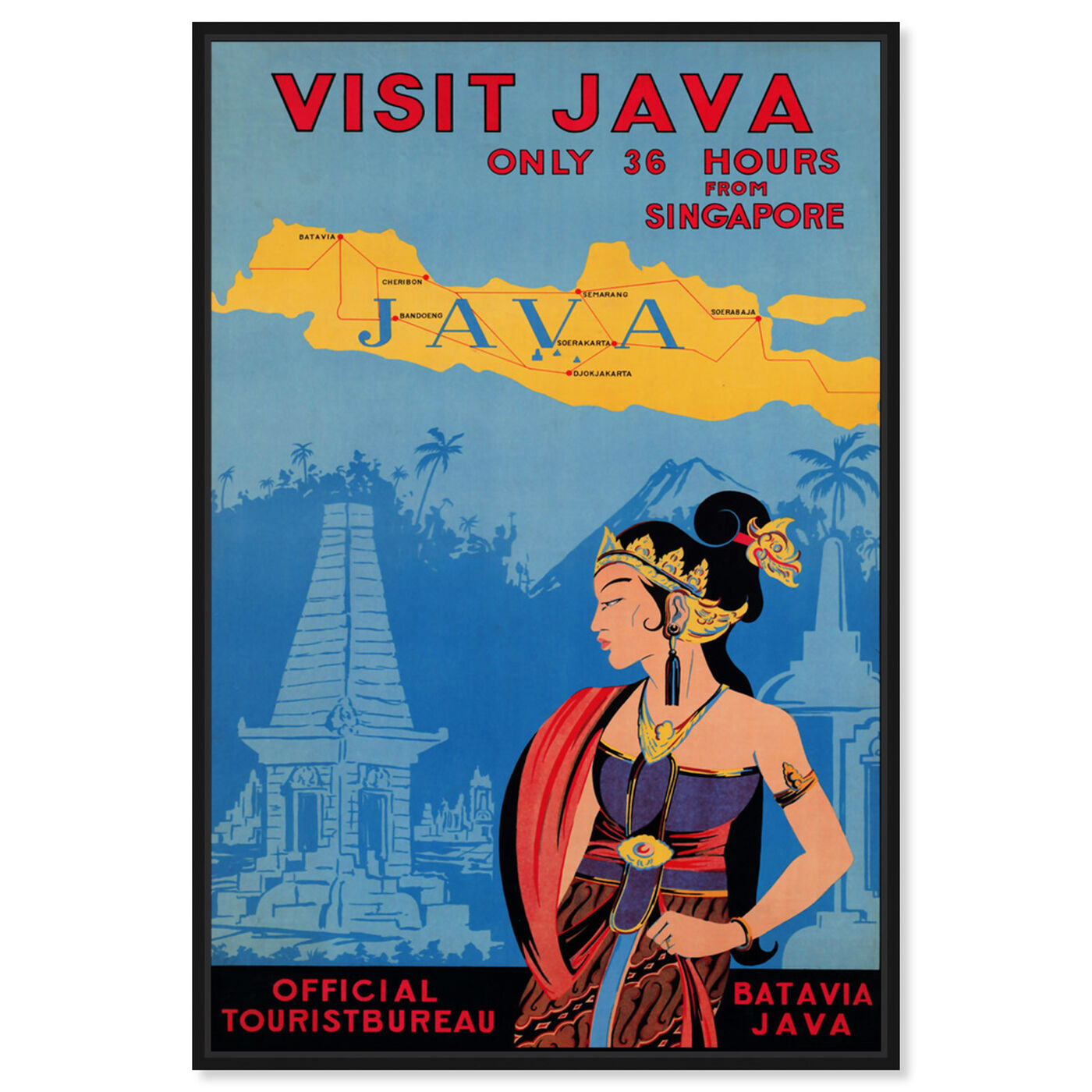 Front view of Visit Java featuring world and countries and asian countries art.