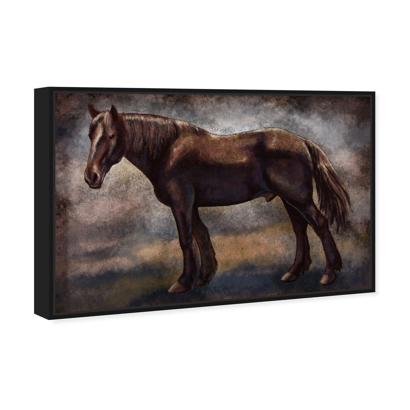 Angled view of Brown Horse featuring animals and farm animals art.