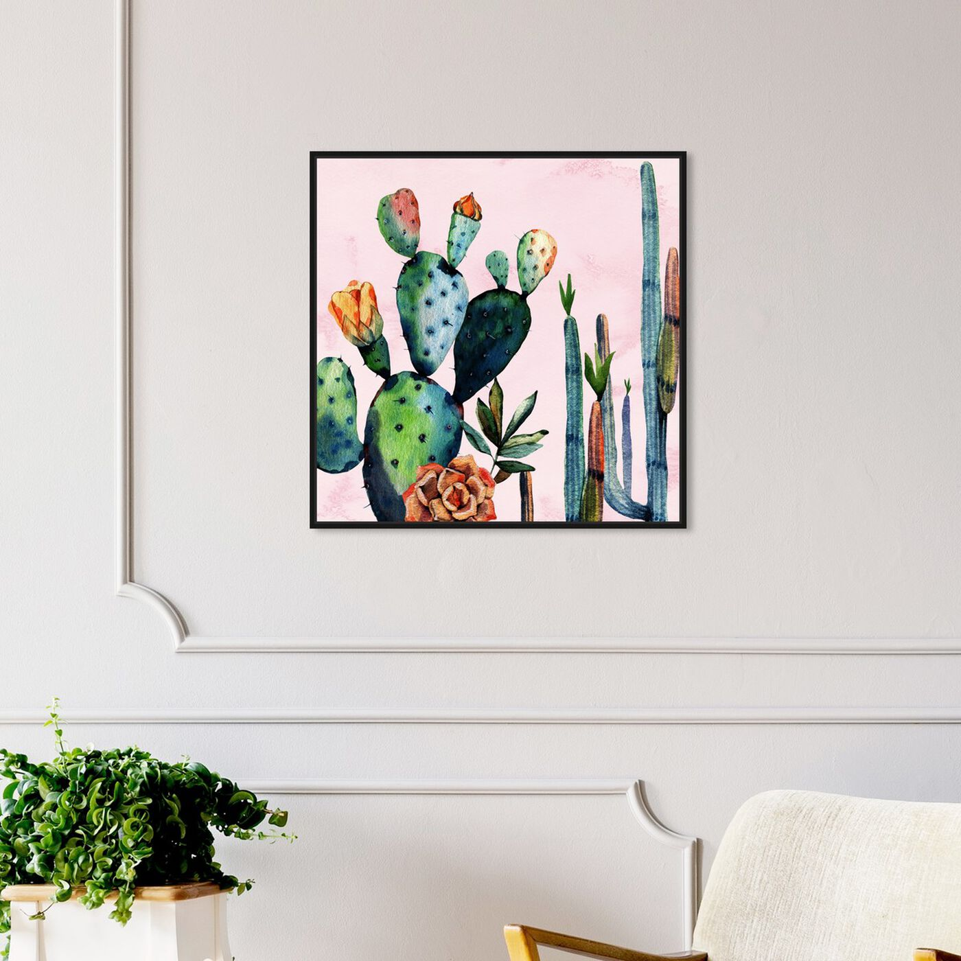 Hanging view of Watercolor Succulents featuring floral and botanical and botanicals art.