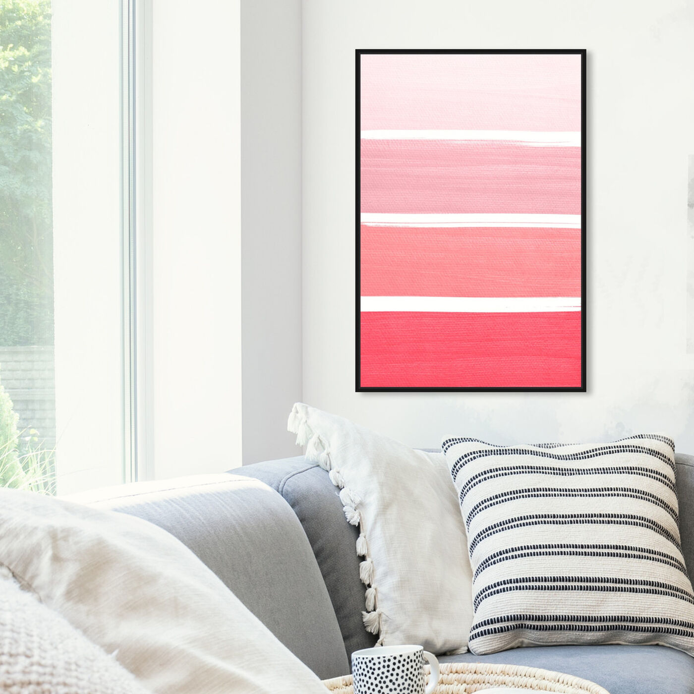 Hanging view of The Right Shade of Pink featuring abstract and geometric art.