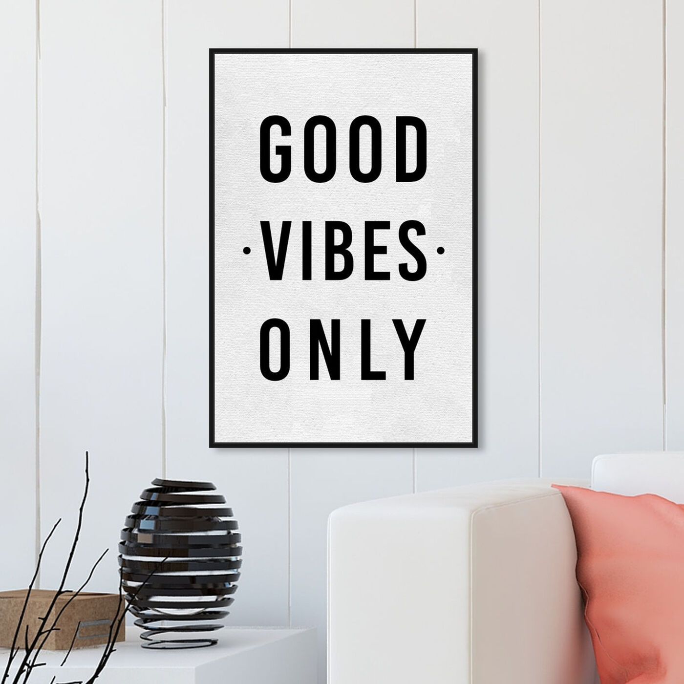 Hanging view of Good Vibes Only featuring typography and quotes and inspirational quotes and sayings art.