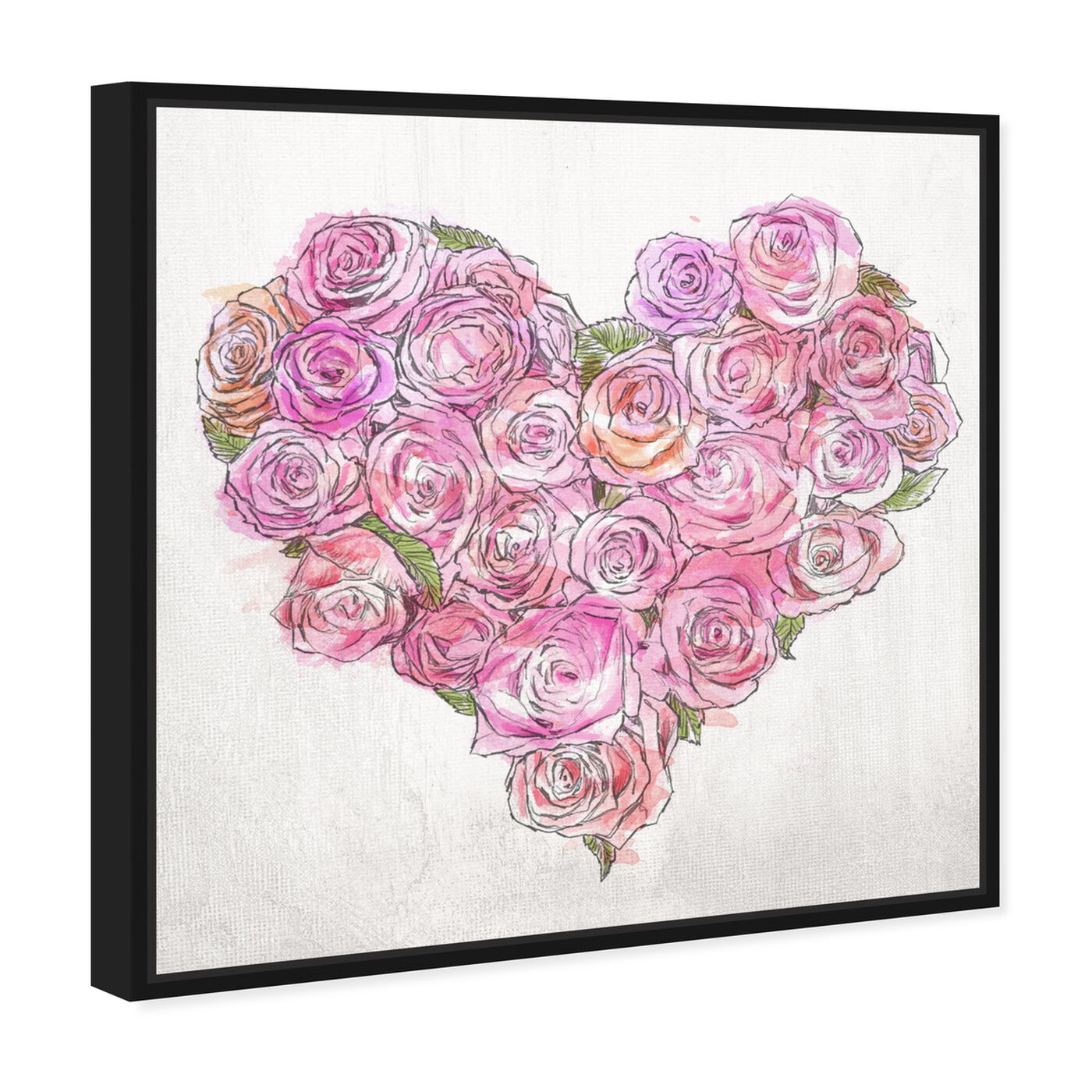Angled view of Heart of Roses featuring floral and botanical and florals art.