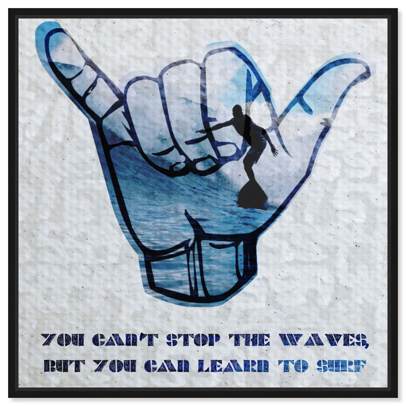 Front view of Learn to Surf featuring typography and quotes and motivational quotes and sayings art.