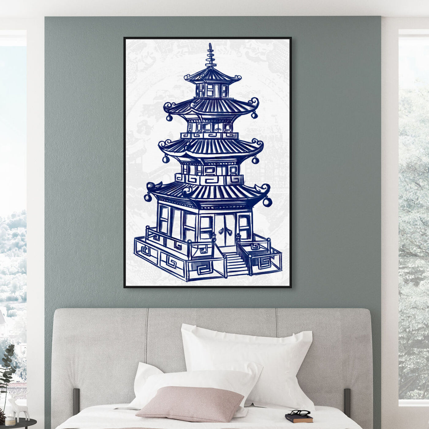Hanging view of Julianne Taylor Style - Pagoda Navy featuring world and countries and asian cultures art.