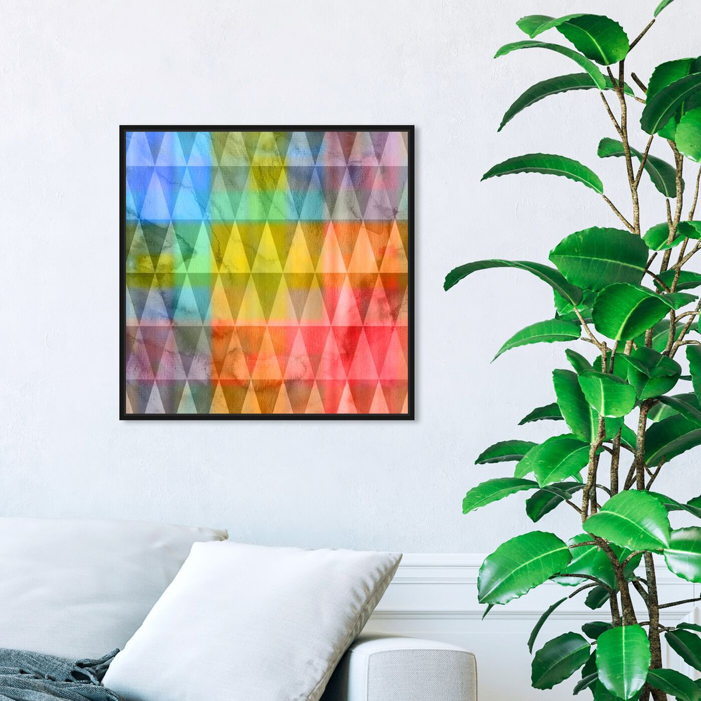 Hanging view of Meet Me at Three featuring abstract and geometric art.