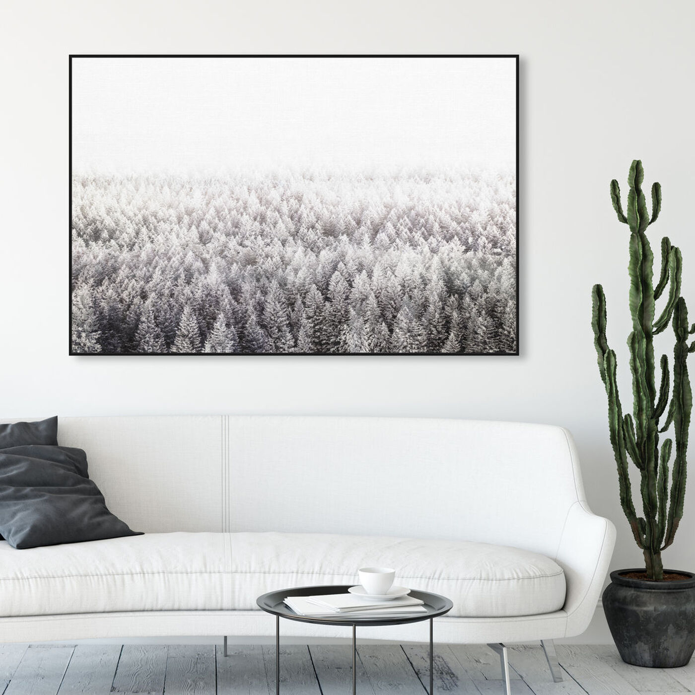 Hanging view of Pine Forest  Gray featuring nature and landscape and forest landscapes art.