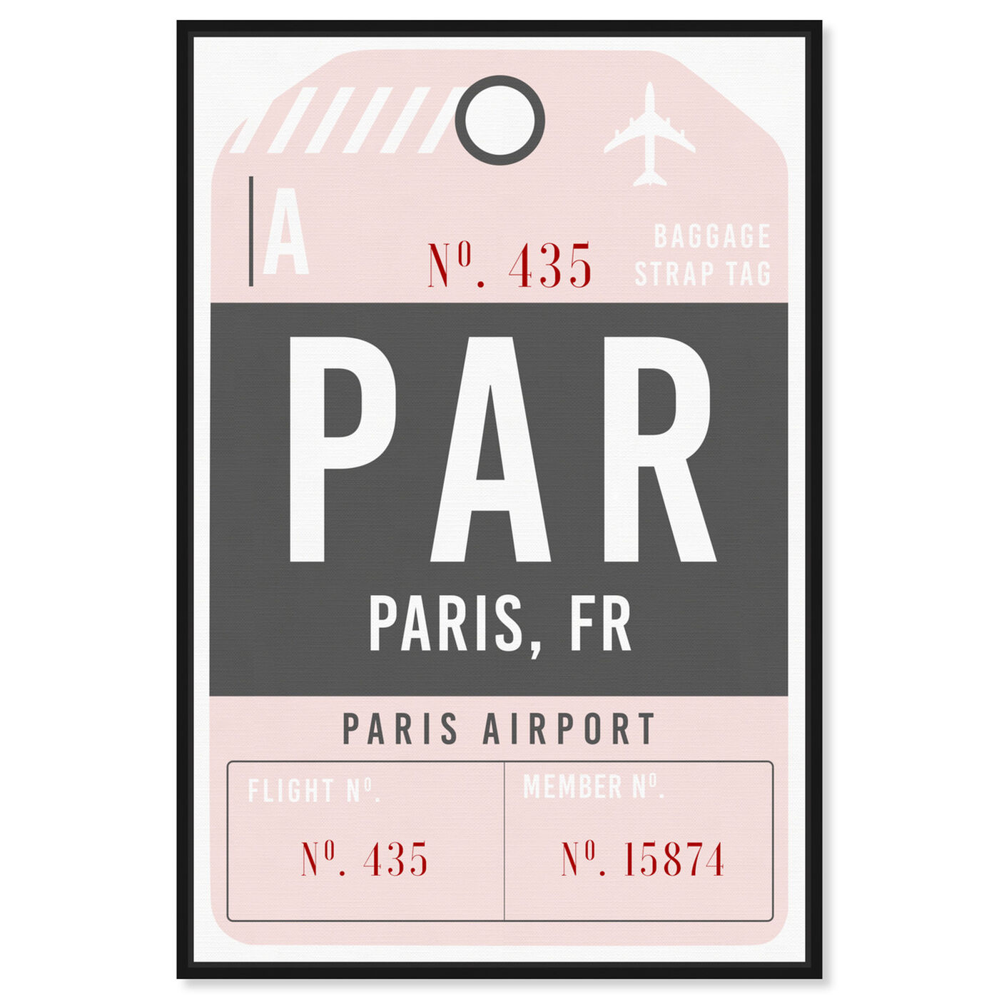 Front view of Paris Airport Luggage Tag featuring typography and quotes and travel quotes and sayings art.