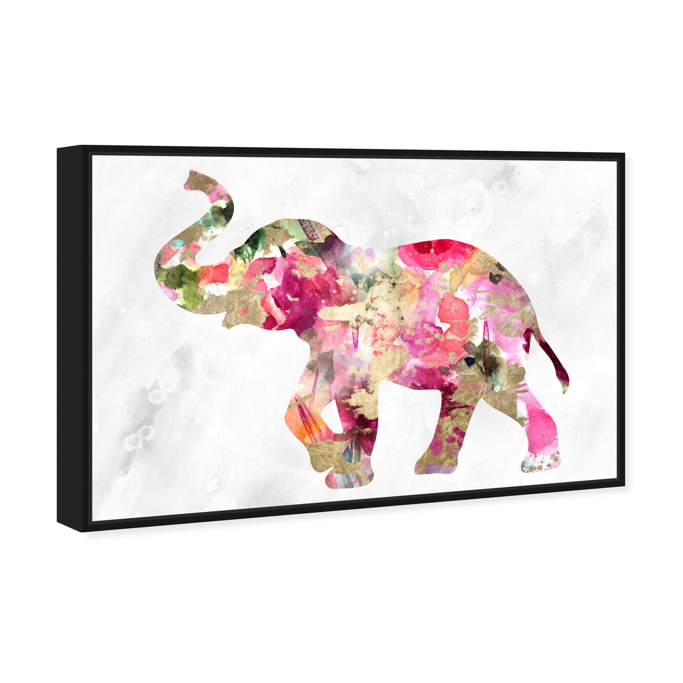 Angled view of Elephant Floral featuring animals and zoo and wild animals art.