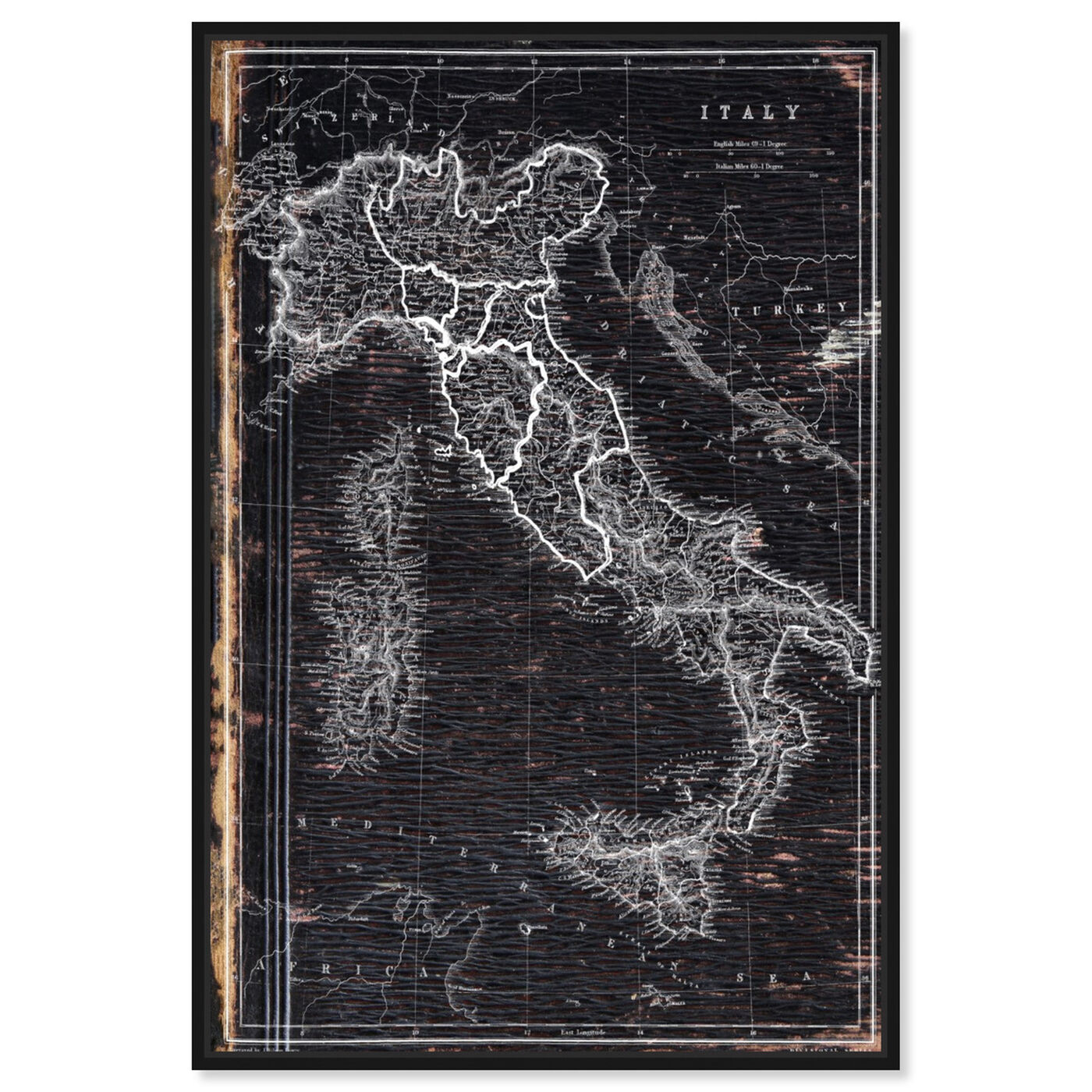 Front view of Map of Italy 1873 featuring maps and flags and european countries maps art.