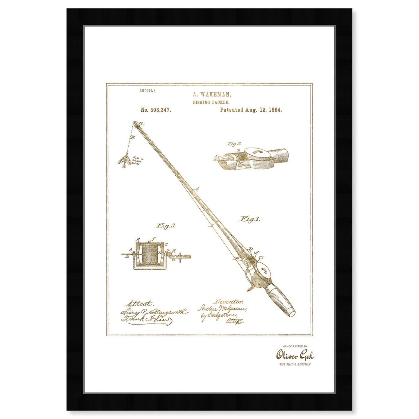 Front view of FISHING ROD 1884 Gold featuring entertainment and hobbies and fishing art.
