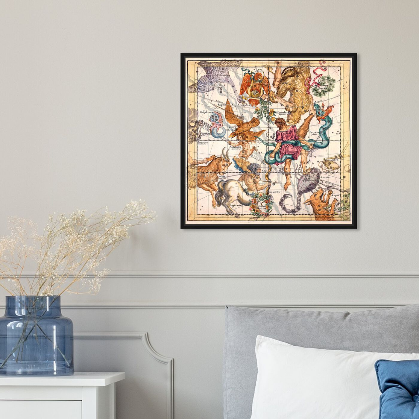 Hanging view of Sagittarius and Scorpius featuring spiritual and religious and zodiac art.