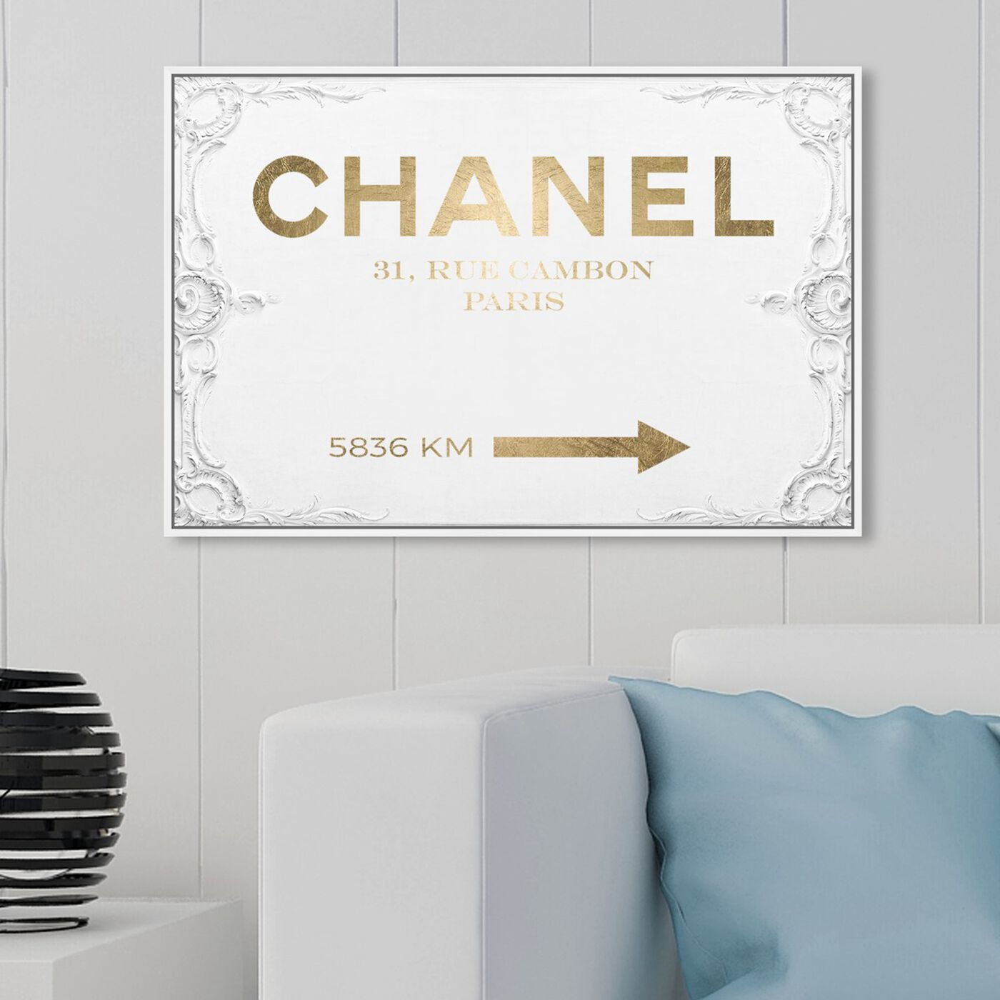 Hanging view of Couture Road Sign Rococo Gold featuring fashion and glam and road signs art.