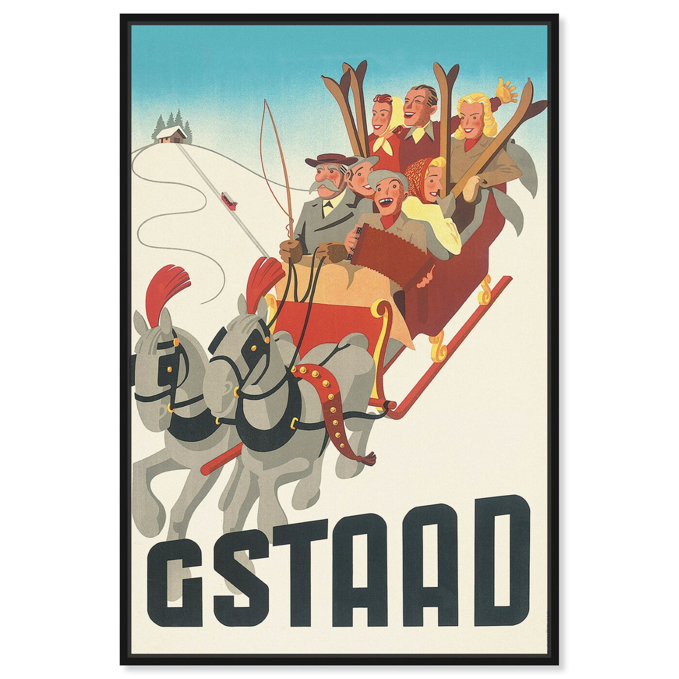 Front view of Gstaad featuring advertising and posters art.