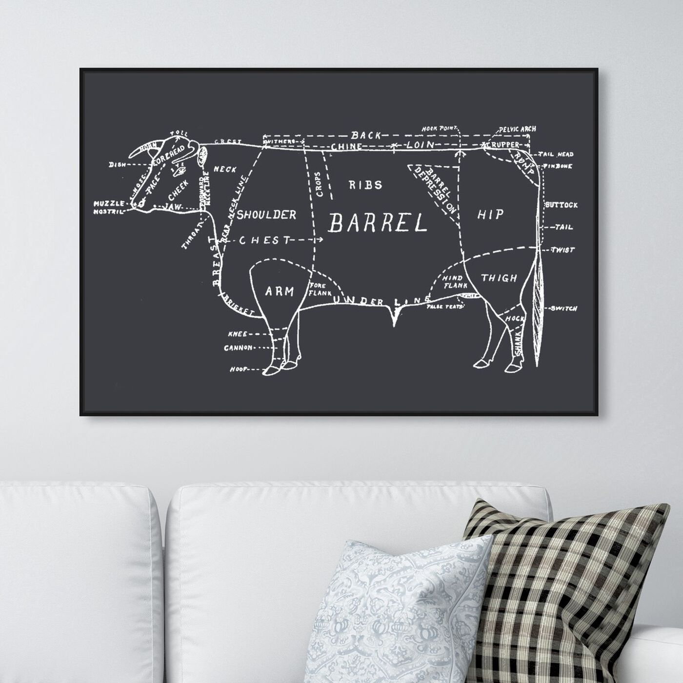 Hanging view of Beef featuring food and cuisine and food art.