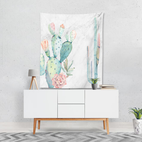 Marble and Succulents Tapestry Art