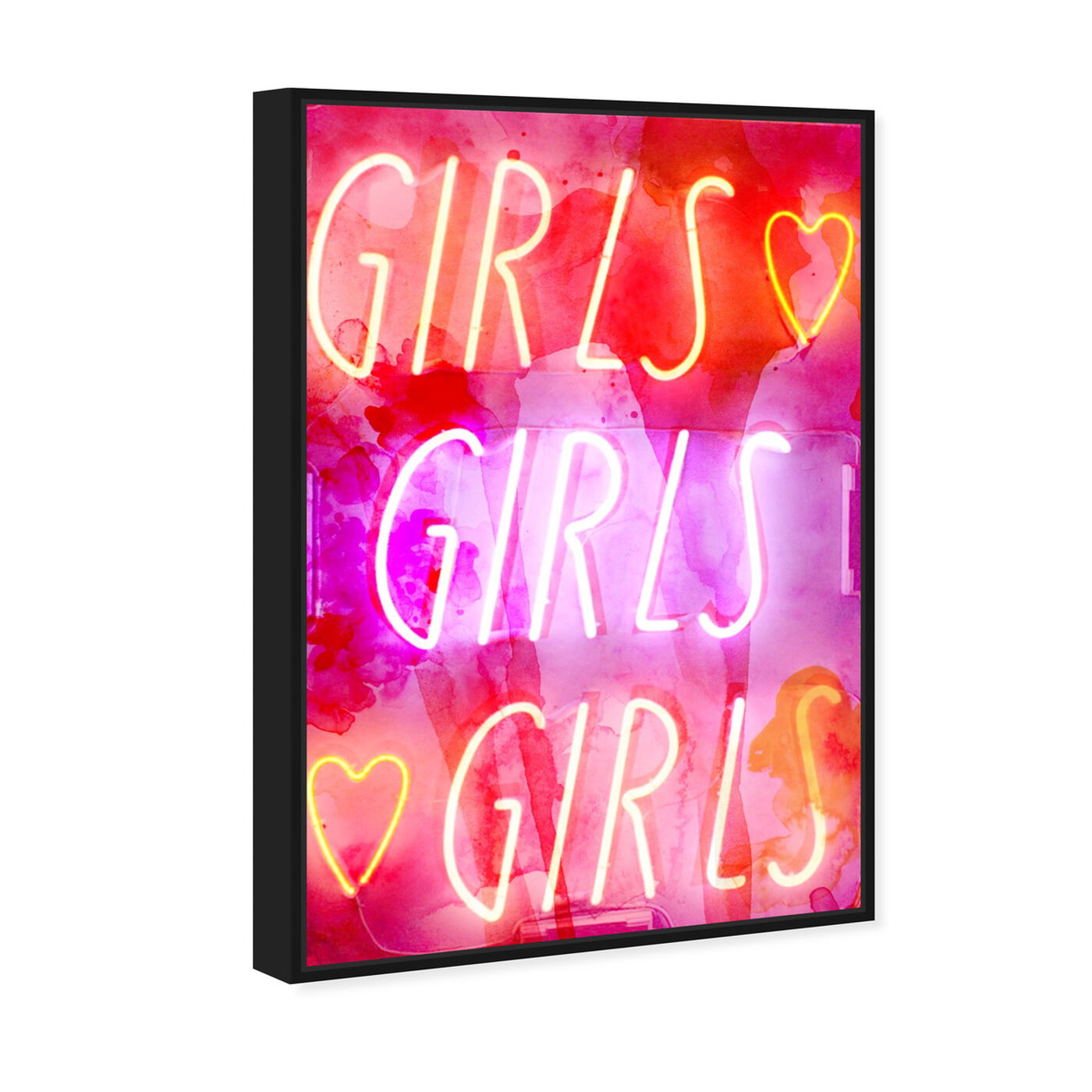 Angled view of Girls Girls Girls featuring typography and quotes and quotes and sayings art.