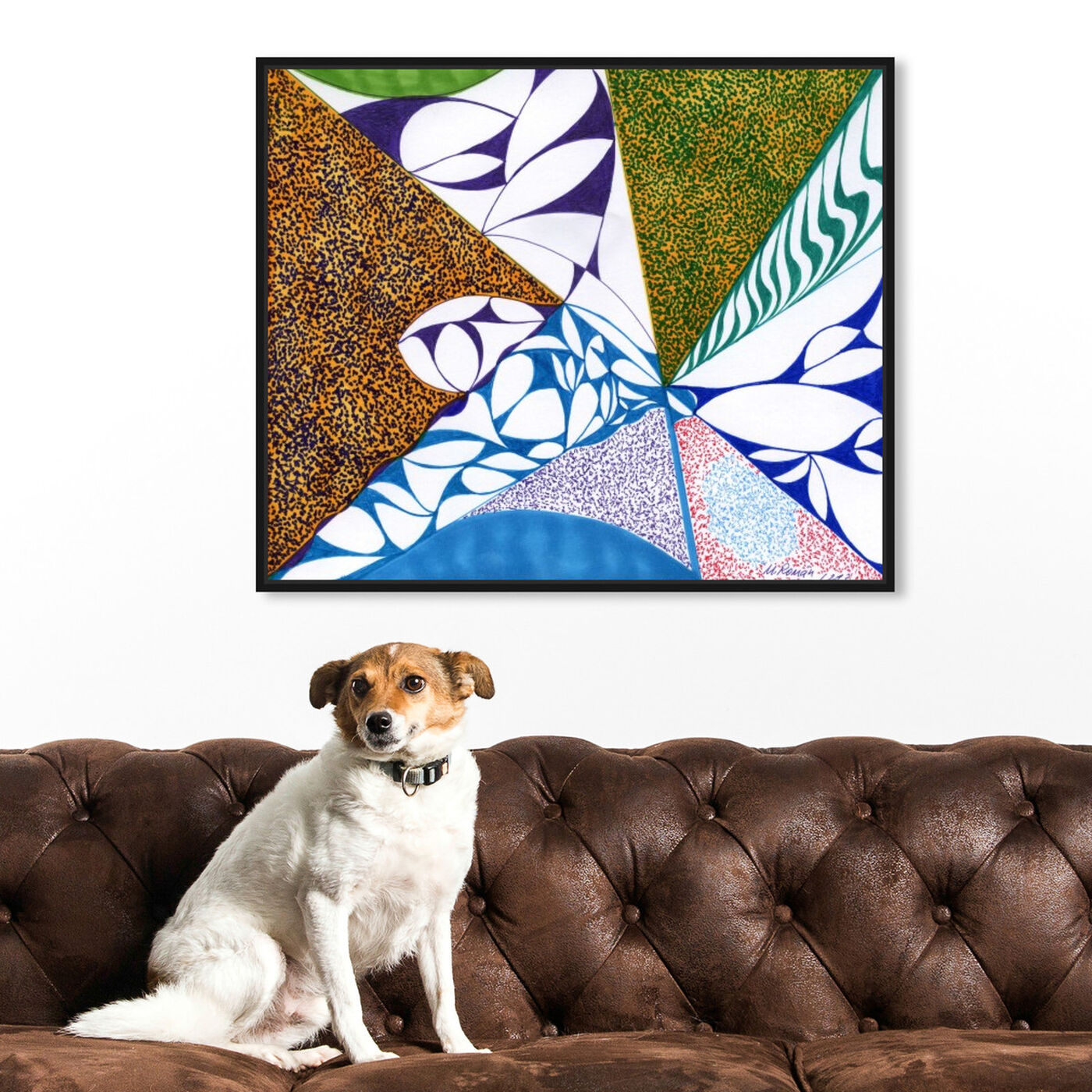 Hanging view of Farmland featuring abstract and geometric art.