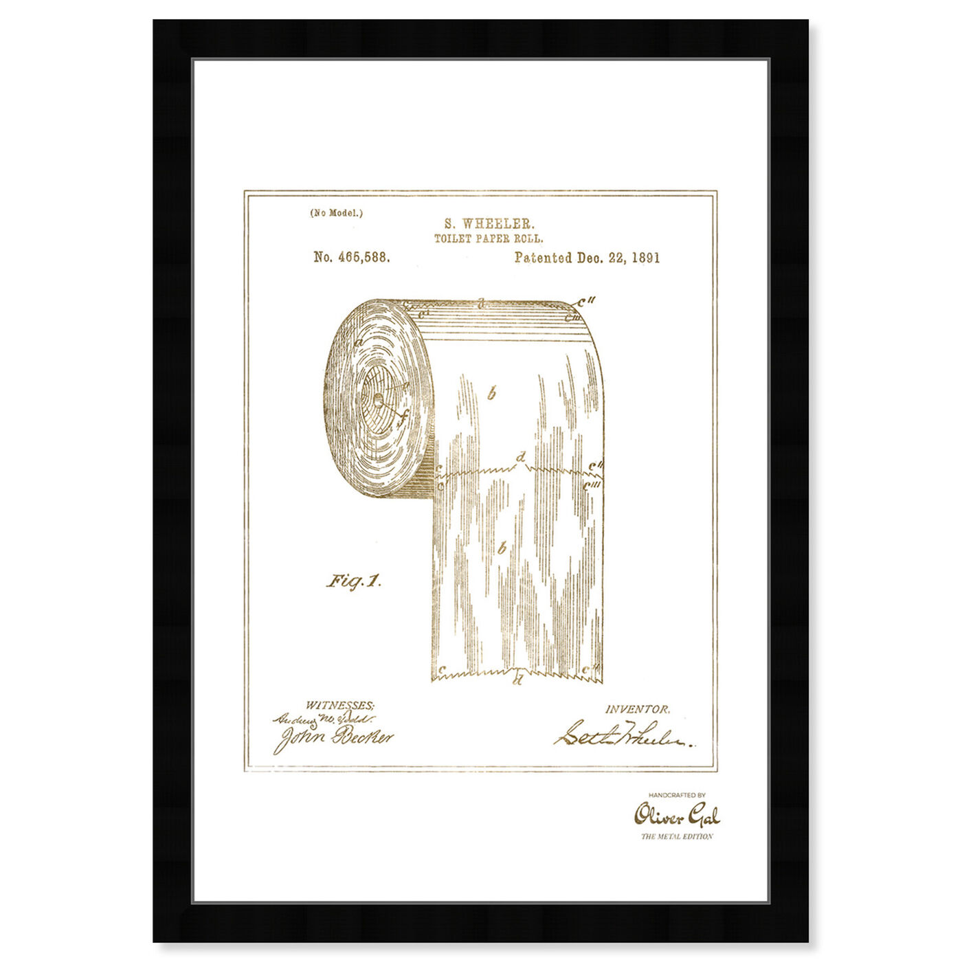 Front view of Toilet-paper roll 1891 I Gold featuring bath and laundry and bath art.