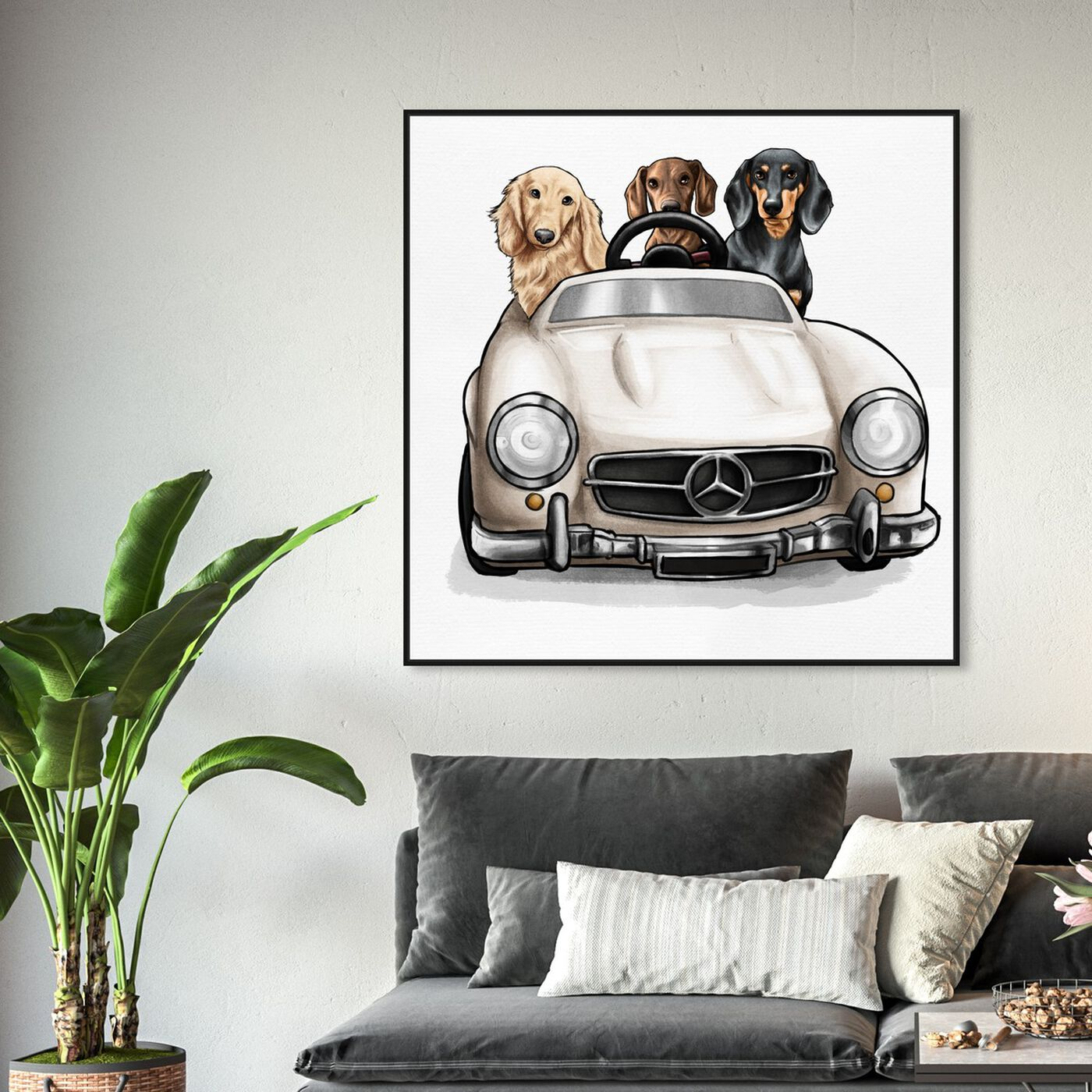 Hanging view of Strolling in Style dachshunds featuring animals and dogs and puppies art.
