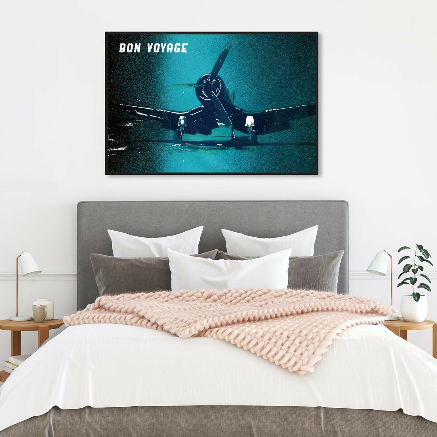 Hanging view of Bon Voyage featuring transportation and airplanes art.