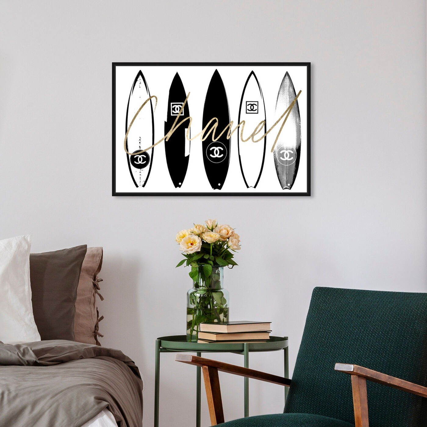 Hanging view of Surfing Paris White featuring fashion and glam and lifestyle art.