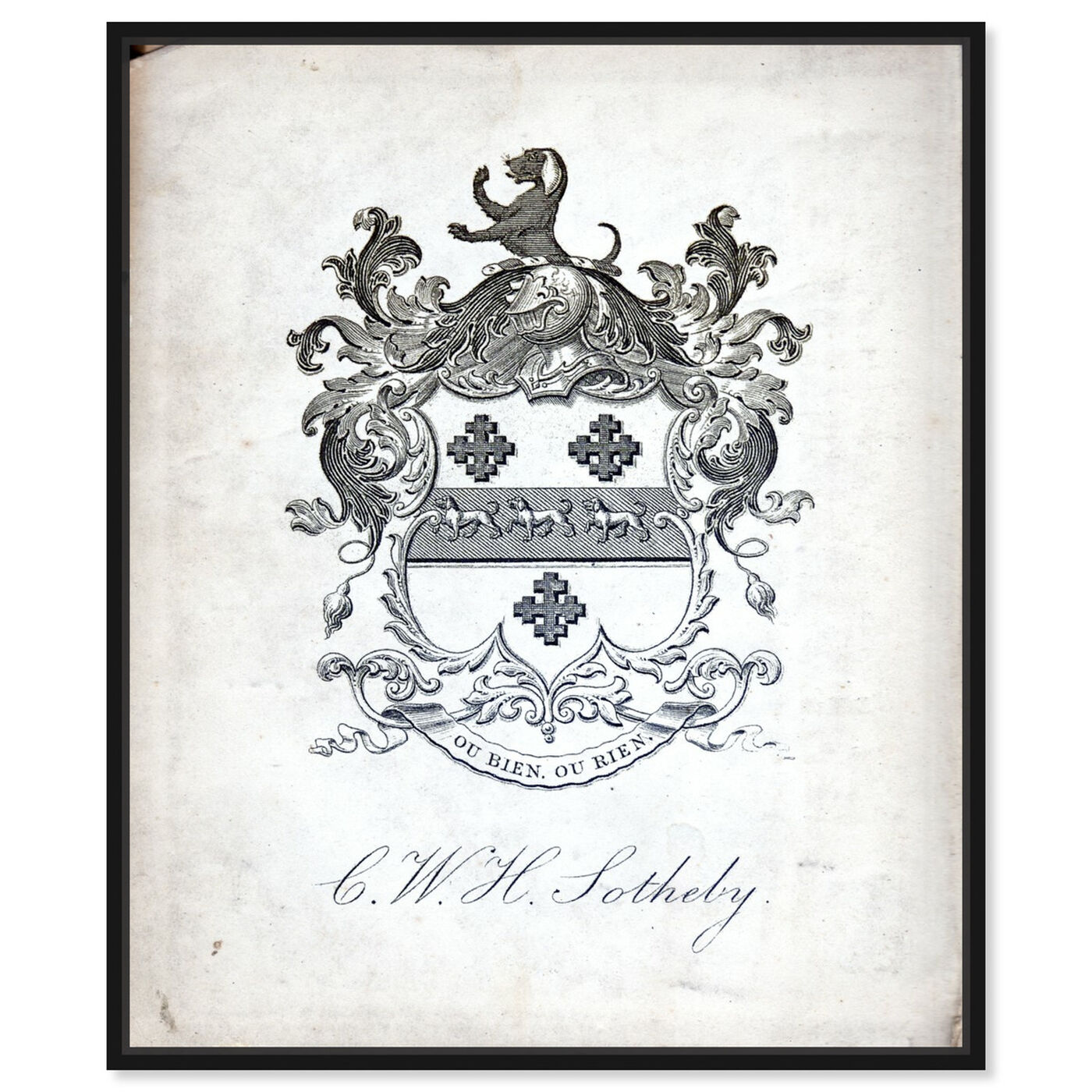 Front view of Armorial Engravings V featuring symbols and objects and calligraphy art.