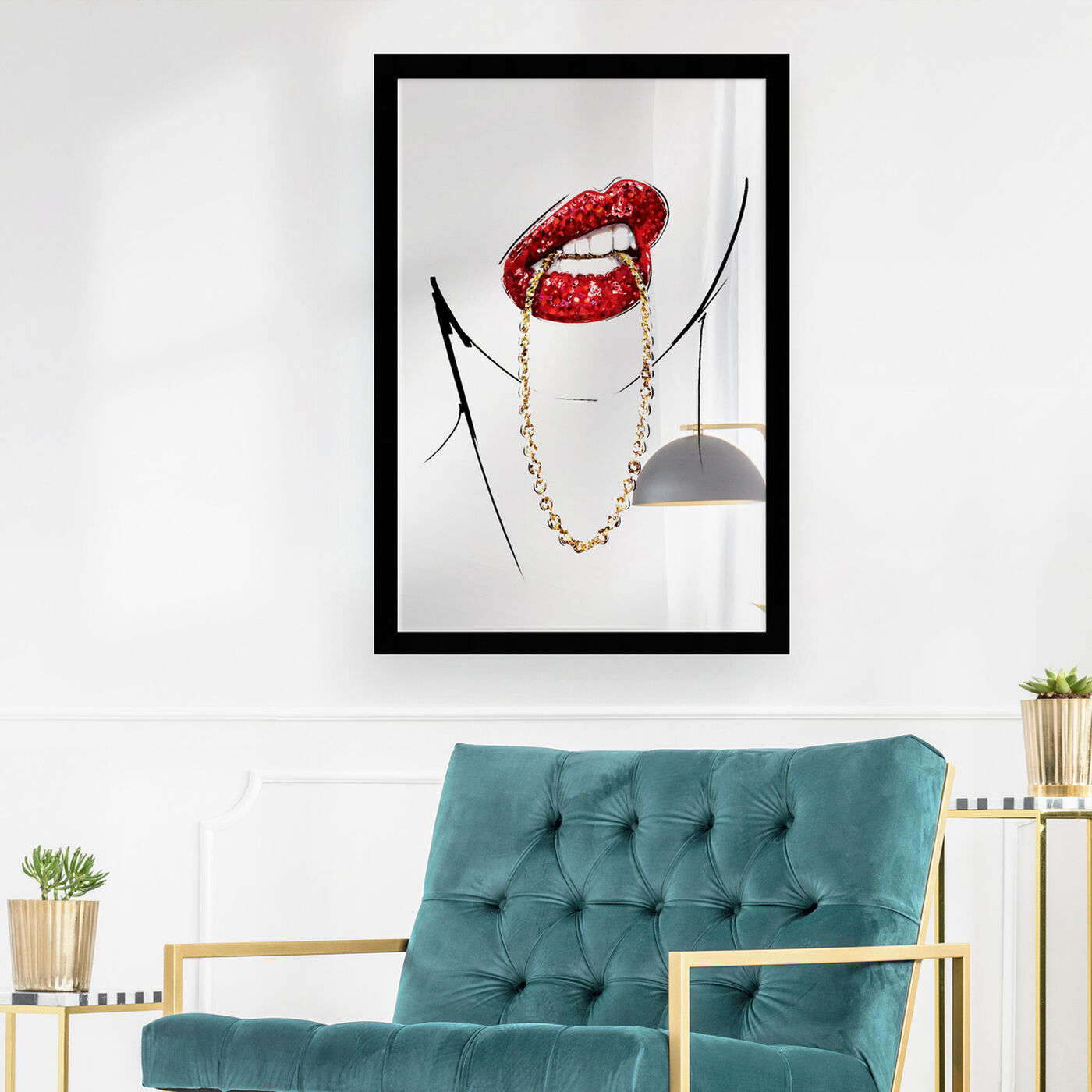 Hanging view of Famed Rich Fabulous Mirror featuring fashion and glam and lips art.
