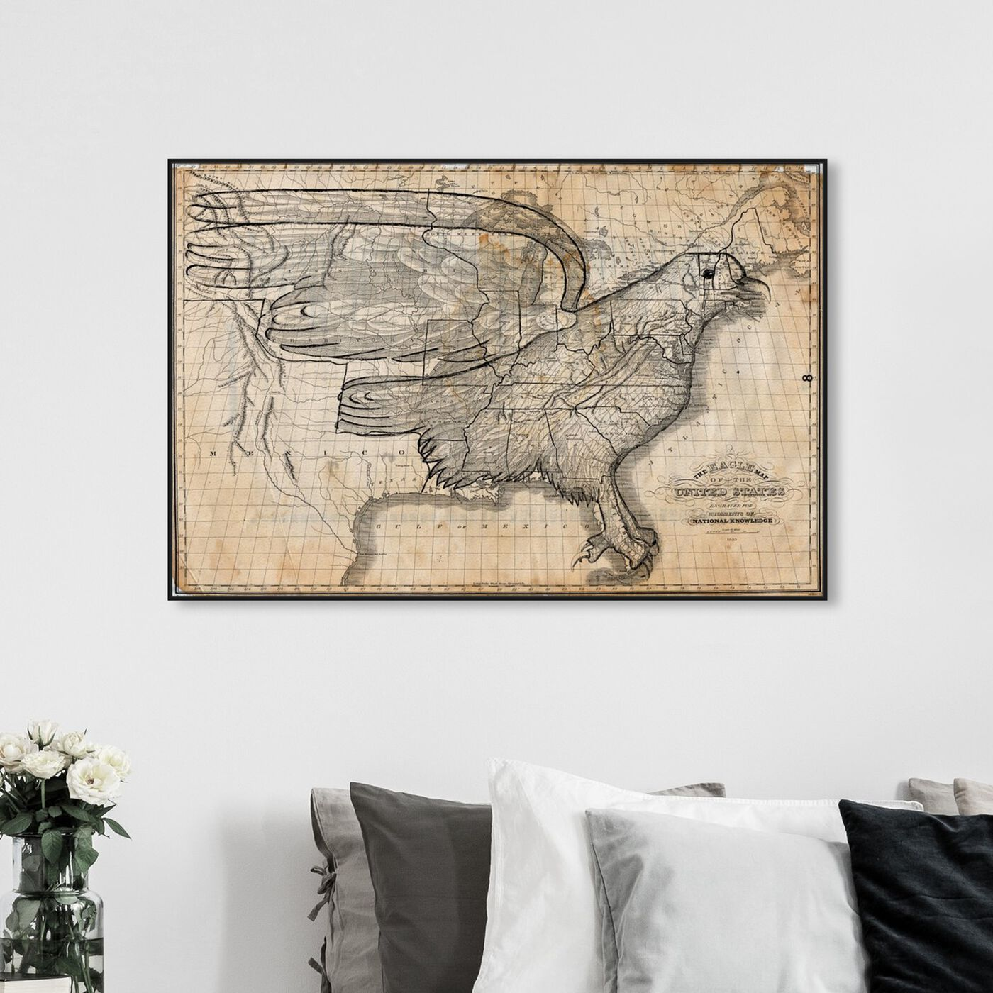 Hanging view of The Eagle Map of the US 1833 featuring maps and flags and american countries maps art.