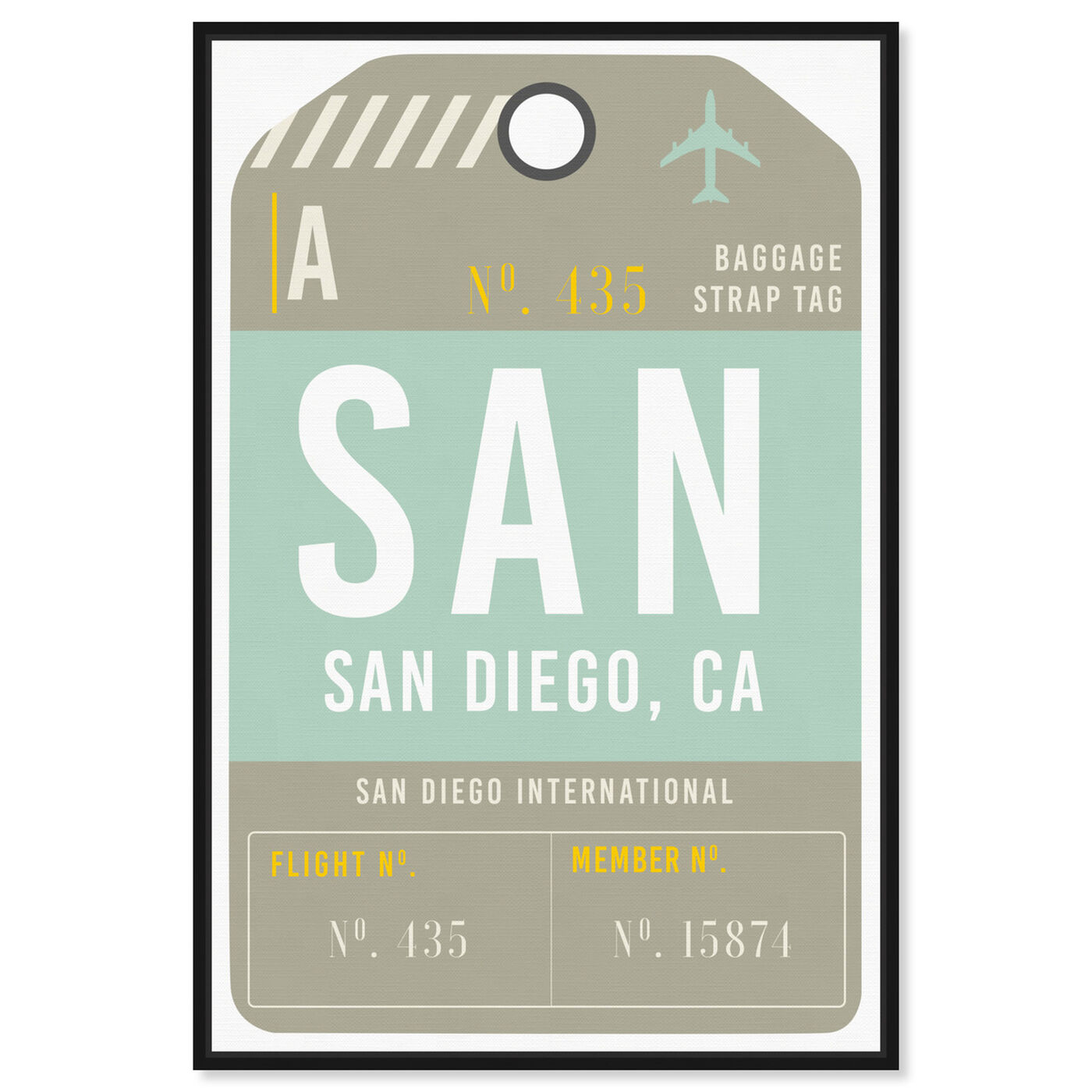 Front view of San Diego Luggage Tag featuring cities and skylines and united states cities art.