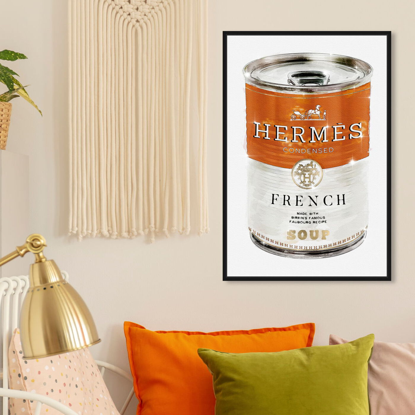 Hanging view of French Luxe Soup featuring fashion and glam and soup can art.