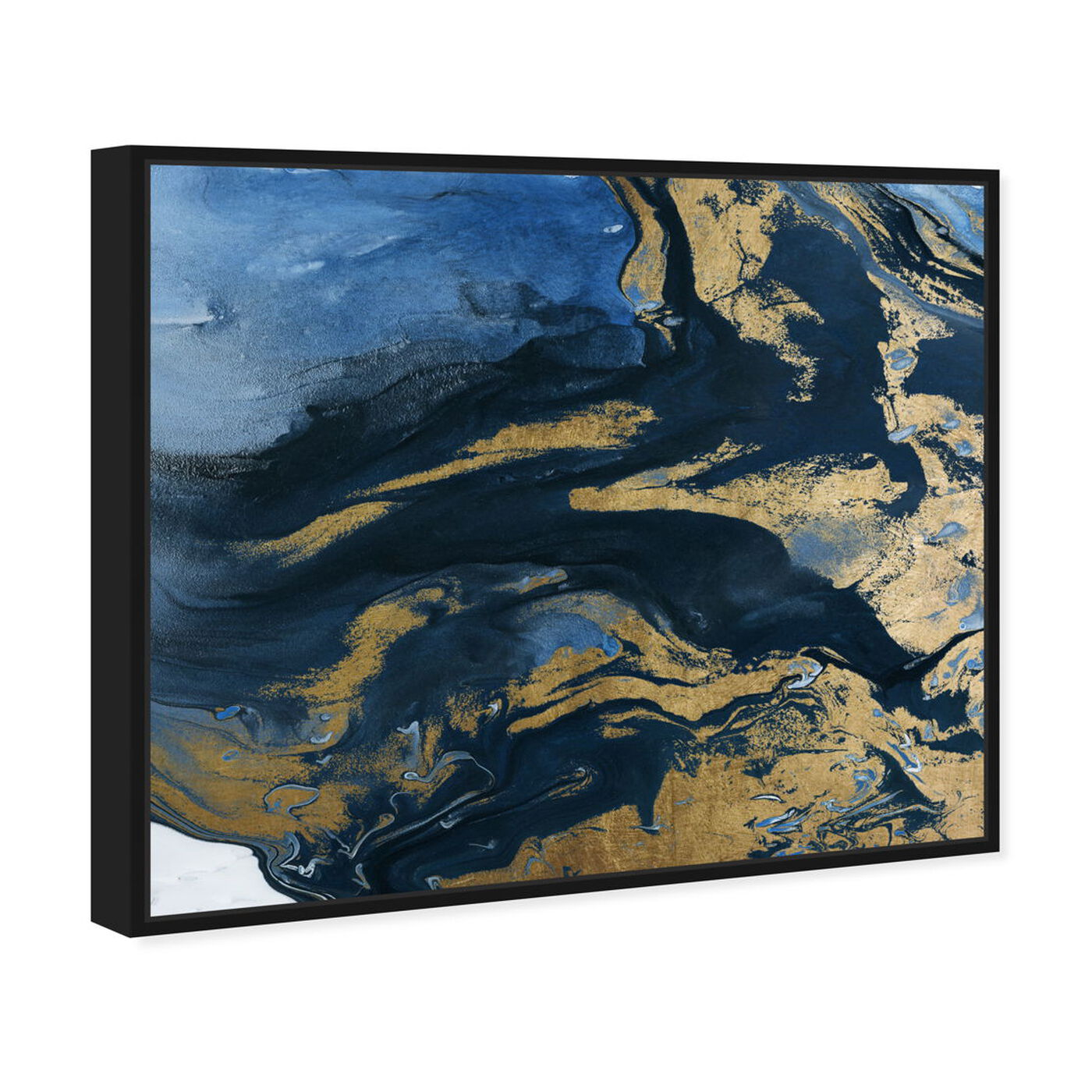 Angled view of Smooth Gold featuring abstract and paint art.