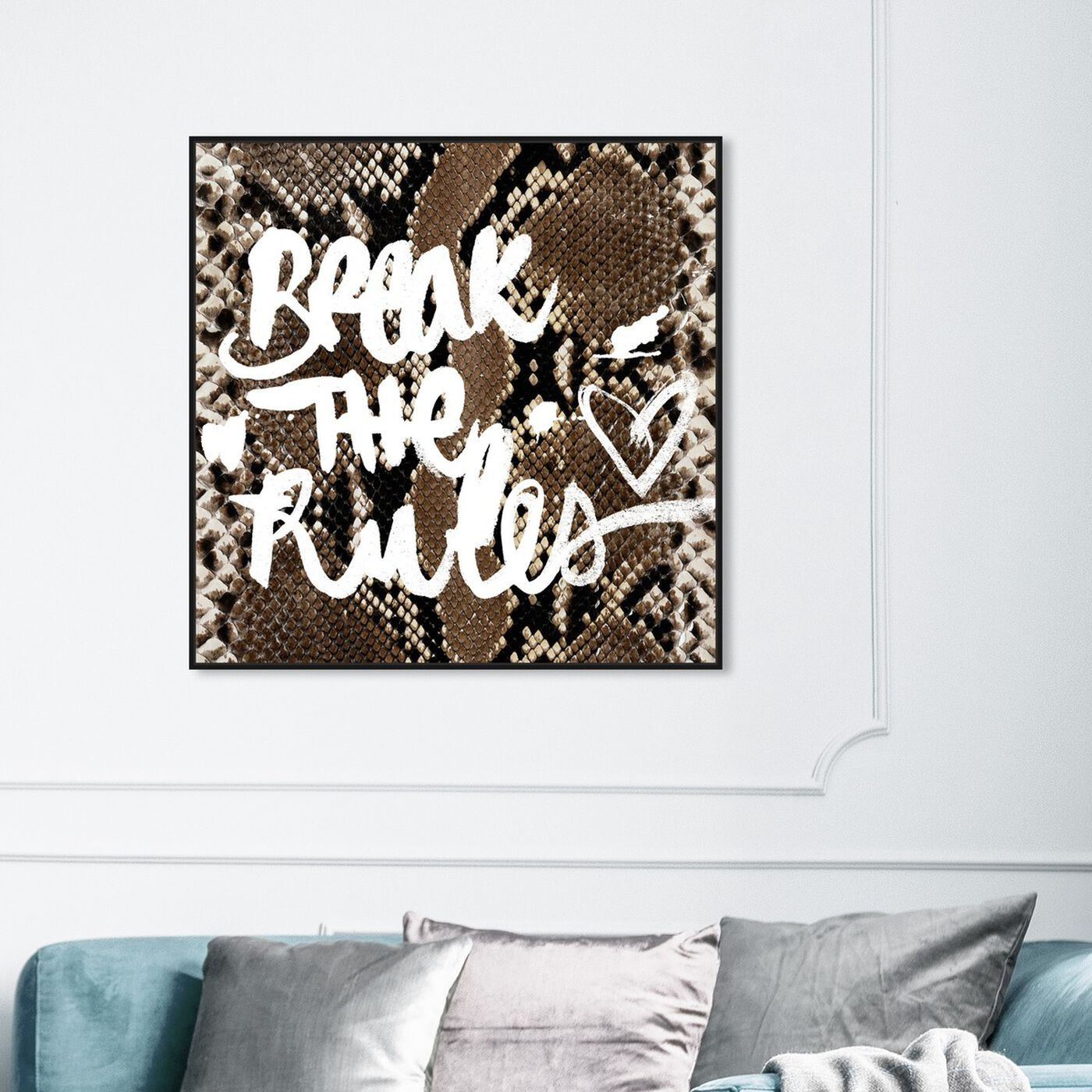 Hanging view of Break the Rules  featuring typography and quotes and motivational quotes and sayings art.