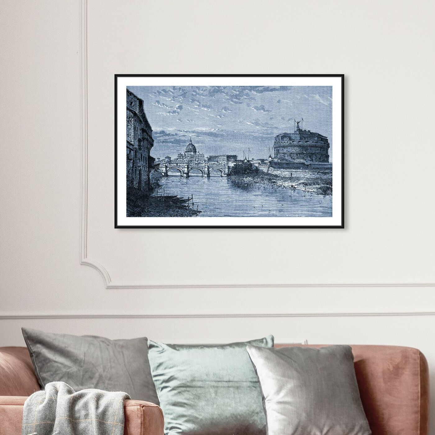 Hanging view of Castel Sant'Angelo 1864 Engraving featuring architecture and buildings and structures art.