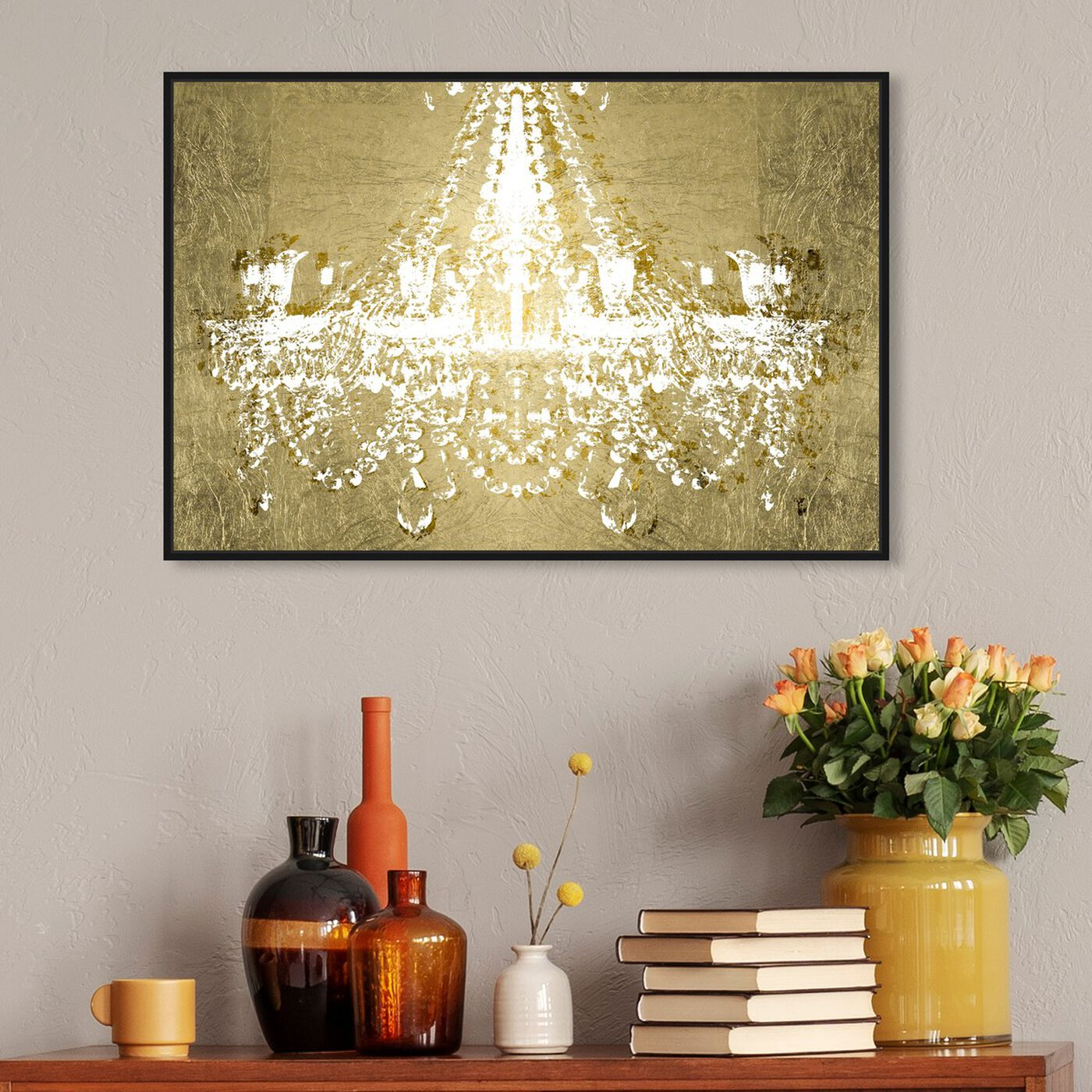 Hanging view of Dramatic Entrance GOLD featuring fashion and glam and chandeliers art.